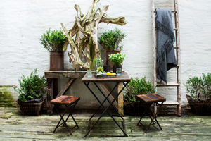 Reclaimed Wood Folding Bistro Table - garden furniture