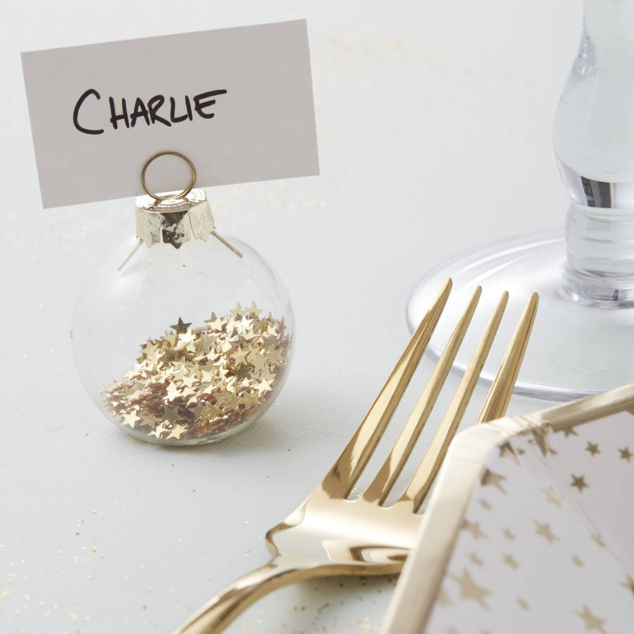 Gold Star Bauble Place Card Holders By Ginger Ray