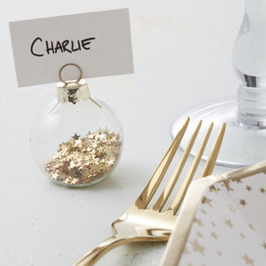 Gold Star Bauble Place Card Holders - table decorations