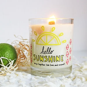 Sunshine Lime Coconut Hand Poured Natural Soy Candle - candles & home fragrance