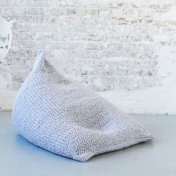 Hand Knitted Pearl Wedge Bean Bag