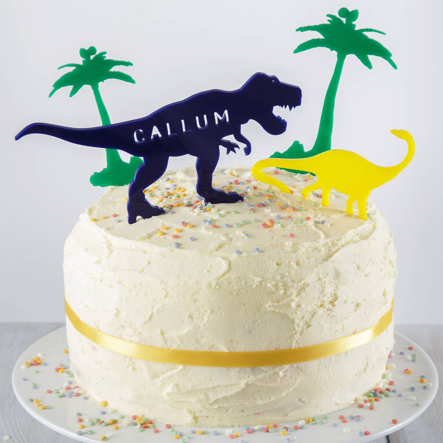 Personalised Dinosaur Cake Topper Scene By Twenty Seven