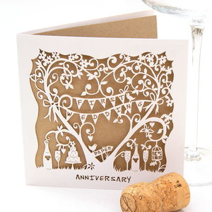 First Wedding Anniversary Laser Cut Card - anniversary cards