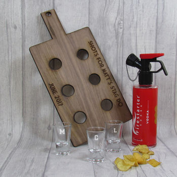 Personalised Shot Paddle Board And Shot Glasses
