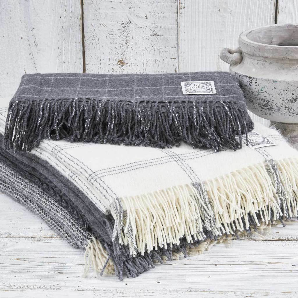 Cashmere And Alpaca Throw Collection Grey Off White