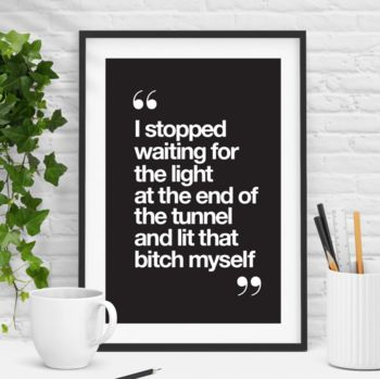'Light At The End' Black And White Inspirational Print