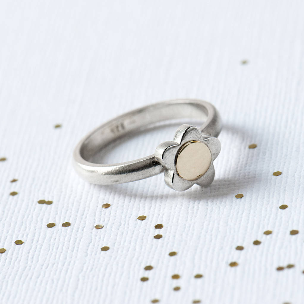 Sterling silver daisy flower ring with gold centre by grace valour sterling silver daisy flower ring with gold centre izmirmasajfo