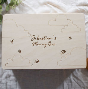 Personalised Memory Box With Bird And Cloud Design