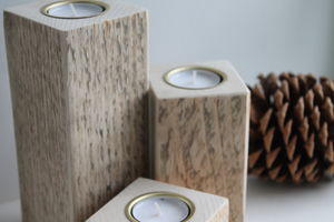 Set Of Three Natural Wood Tea Light Holders - room decorations