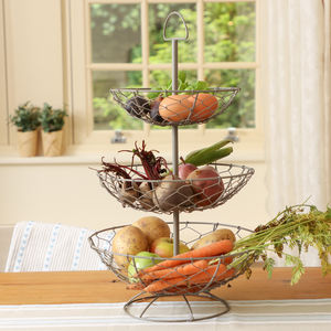 Grey Chickenwire Three Tier Fruit And Veg Store - fruit bowls