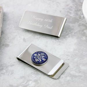 Sixpence 1957 60th Enamel Coin Money Clip - accessories sale