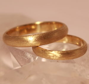 His And Hers Welsh Gold And Ecogold Etched Rings - wedding rings