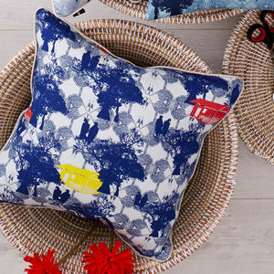 African Print Linen Cushion - patterned cushions