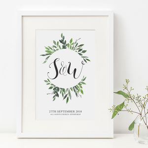 Personalised Wedding Day Anniversary Initials Print