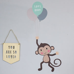 Monkey And Balloon Wall Stickers