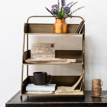 Large Three Tier Desk Tidy Antique Brass