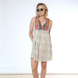 Stripe Stunner Bib Nightdress - maternity