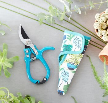 Sky Blue Secateurs In A Botanical Holster Case