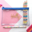 Personalised Clear Pencil Case In Choice Of Colours