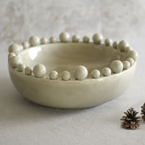 Extra Large Cream Ceramic Bowl - tableware