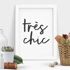 'Tres Chic' Typography Print - shop by subject