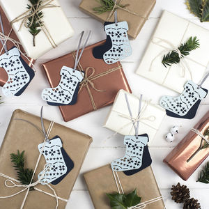 Laser Cut Christmas Stocking Gift Tags