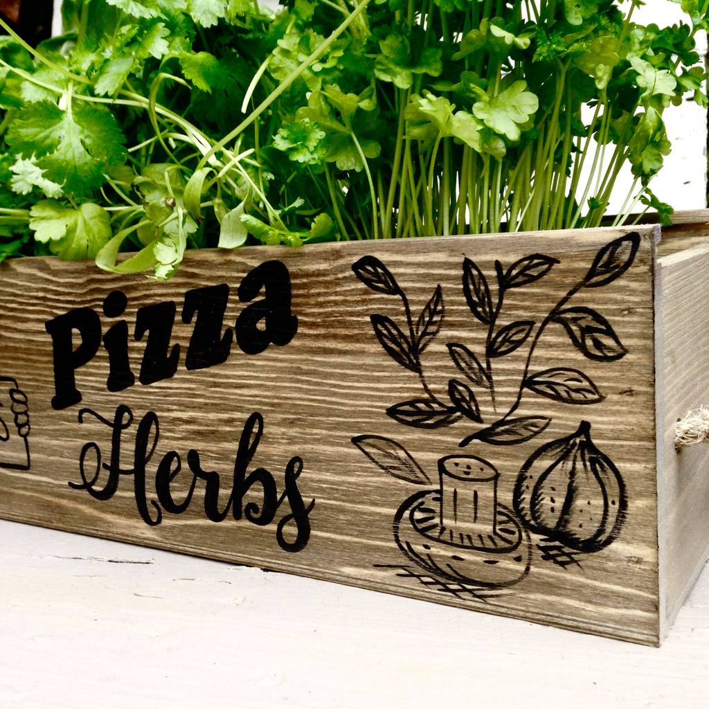 personalised pizza herbs window box garden by potting shed designs ...