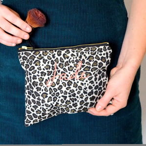 Embroidered Leopard Print Make Up Bag