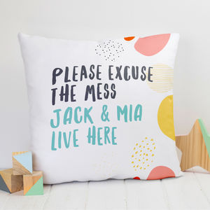 Personalised 'Excuse The Mess' Family Name Cushion - children's cushions