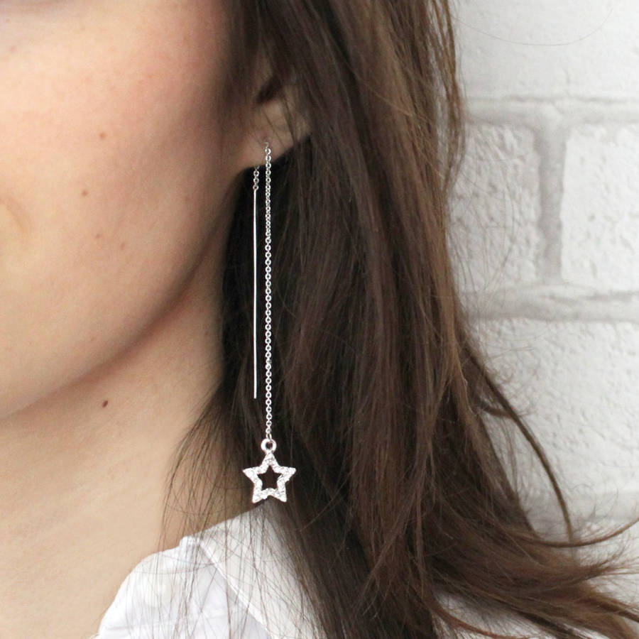 Silver Diamante Star Thread Through Earrings On Model