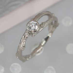 18ct White Gold Diamond Solitaire Twig Engagement Ring - unique engagement rings