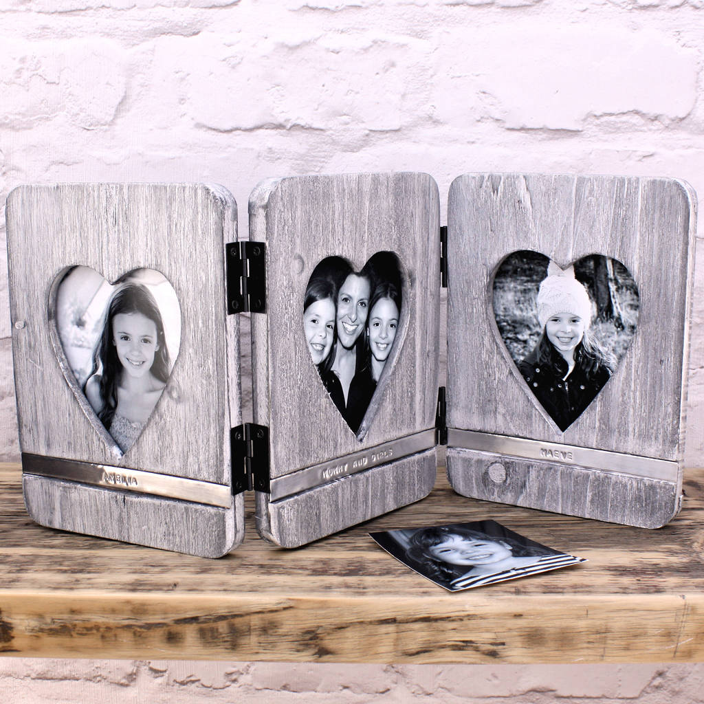 personalised wooden heart photo frame by warner\'s end ...
