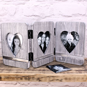 Personalised Wooden Heart Photo Frame - picture frames