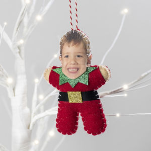 Personalised Elf Christmas Tree Decoration - tree decorations