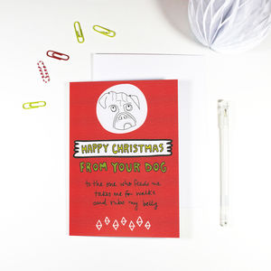 'Happy Christmas From Your Dog' Christmas Card - summer sale