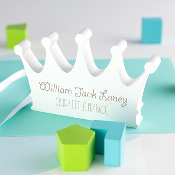 Personalised Our Little Prince Wooden Crown