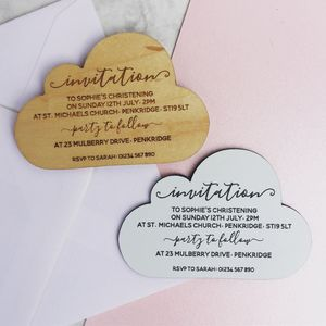 Personalised Christening Cloud Magnet Invitation - invitations