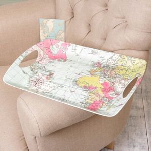 Large World Atlas Travellers Plastic Serving Tray - kitchen