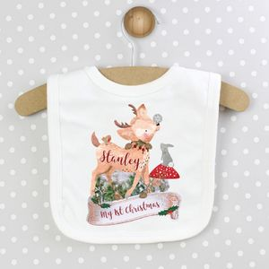 'Festive Fawn' Personalised Christmas Bib - baby & child christmas clothing