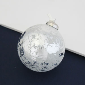 Distressed Silver Christmas Bauble