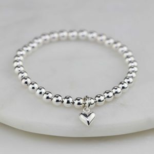 Children's Silver Bracelet With Silver Heart Charm - christening jewellery
