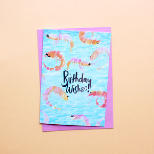 Prawn Party Birthday Wishes Greetings Card