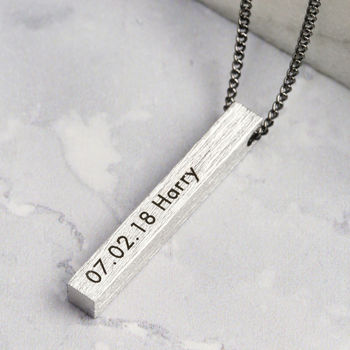 Men's Personalised Brushed Bar Necklace