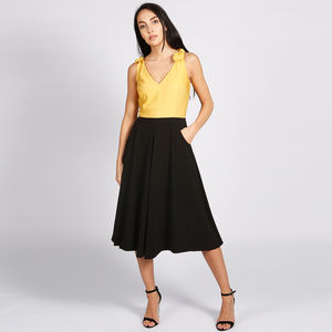 Bonbon 50s Style Dress Black Yellow - dresses