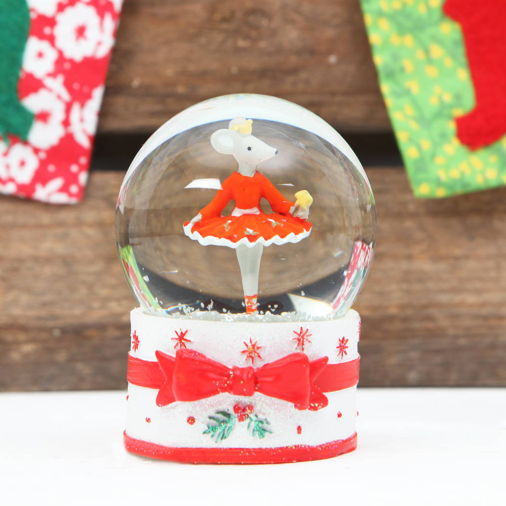 Mini Christmas Ballerina Mouse Snow Globe, Two Designs
