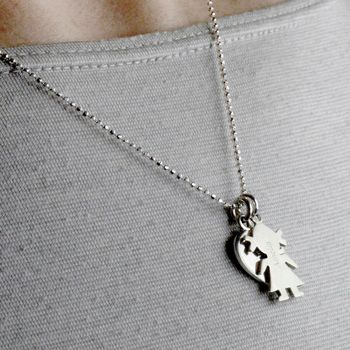 Personalised Silver 'In My Heart' Family Charm Necklace