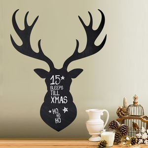 Write And Erase Christmas Stag Head Wall Decal