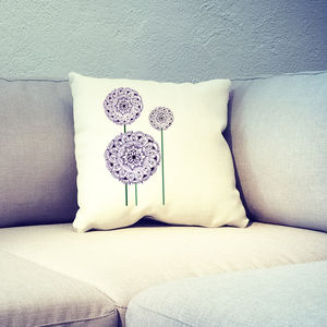 Hand Drawn Allium Design Printed Cushion Cover - bedroom