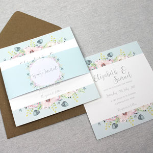 'The Lizzie' Floral Watercolour Wedding Invitation
