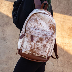 Cowhide Leather Classic Backpack In Brown And White